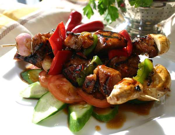 Recipe B.B.Q. Pork Skewers with Plum Sauce
